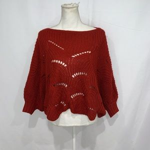 Anthro Elodie rust oversized cropped sweater